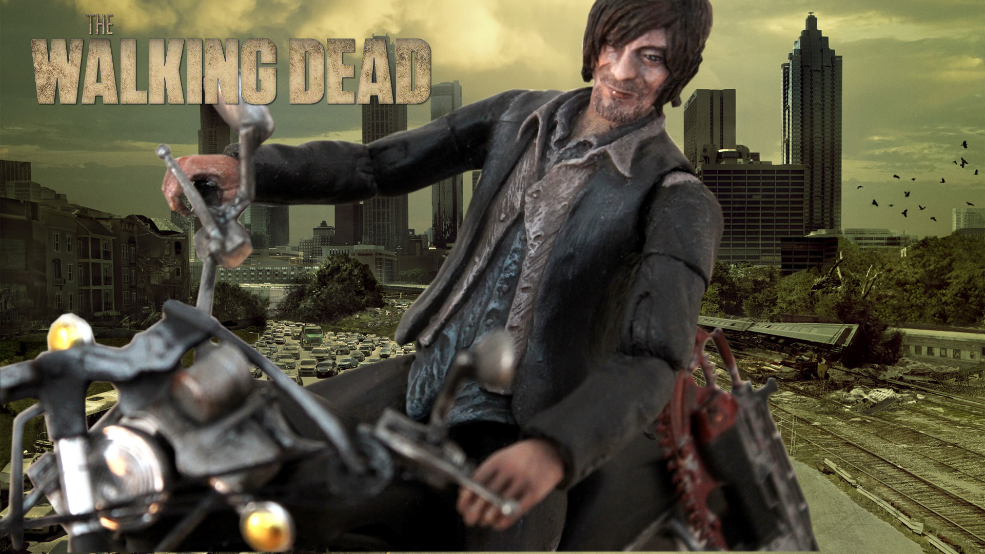 the walking dead � daryl dixon with motorcycle crossbow